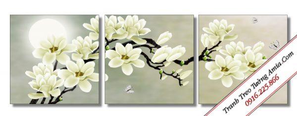 tranh hoa moc lan duoi trang in canvas dep