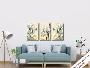 tranh hoa sen 3d treo tuong phong khach dep