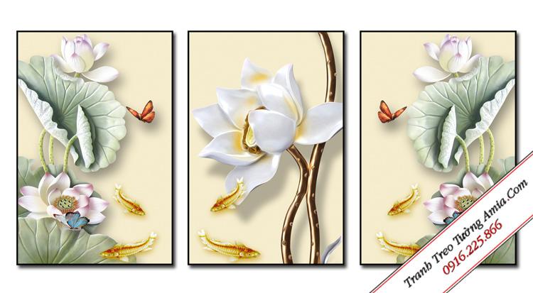 tranh hoa sen in canvas 3d hien dai