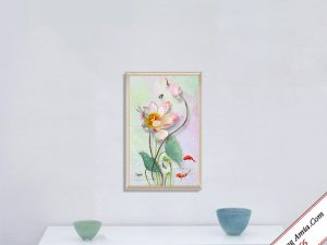 tranh hoa sen treo phong khach in canvas kho dung