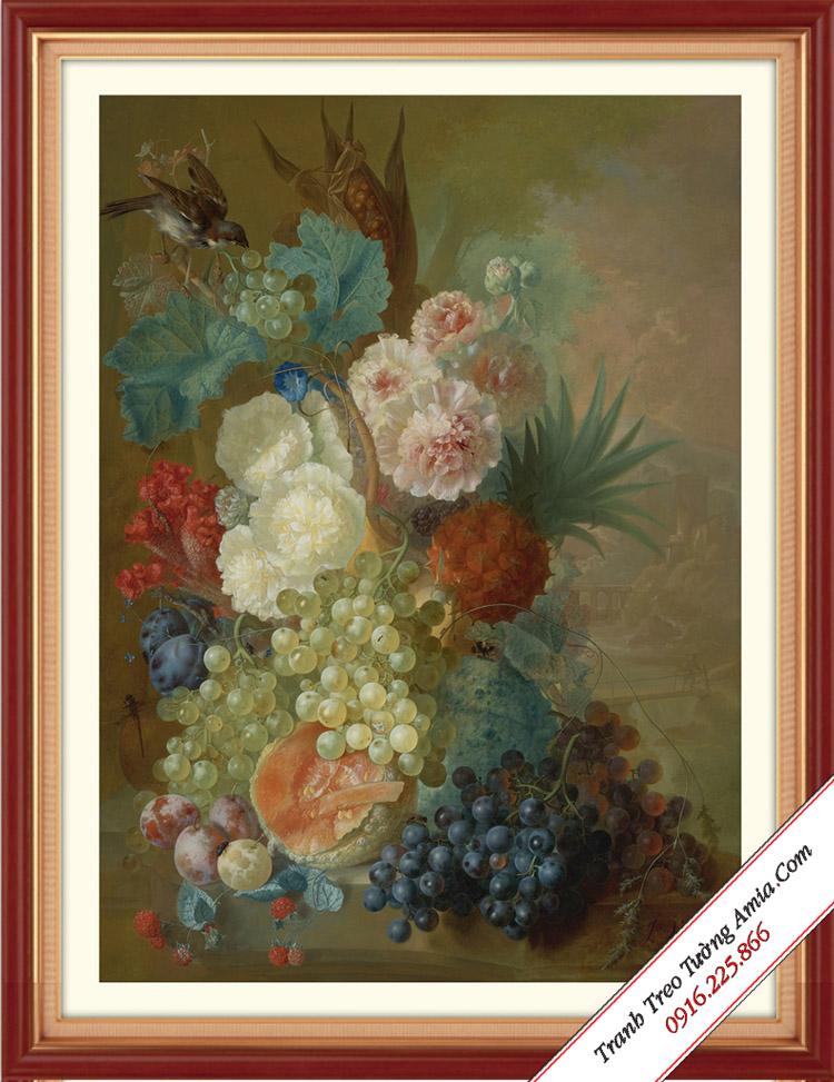 tranh hoa va qua trang tri phong an phong cach quy toc chau au