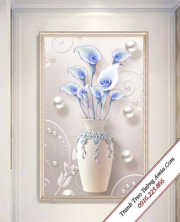 tranh in gia 3d binh hoa la ken xanh treo phong an