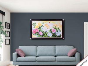 tranh phong thuy hoa mau don treo phong khach