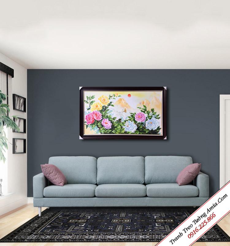 tranh phong thuy hoa mau don treo tuong phong khach
