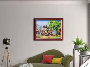 tranh ve son dau phong canh pho co treo tuong dep