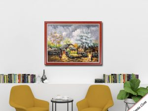 tranh son dau phong canh mua xuan tay bac