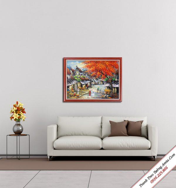tranh son dau treo tuong phong canh pho co dep