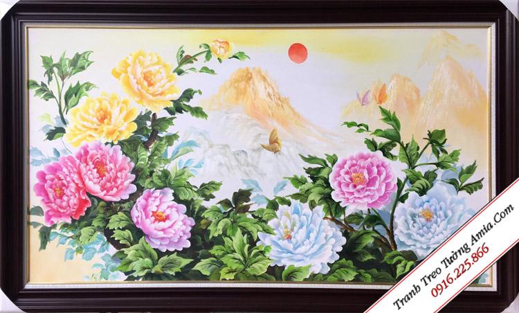 tranh son dau ve hoa mau don dep