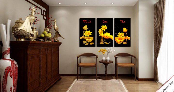 tranh treo phong tho hoa sen vang phong thuy