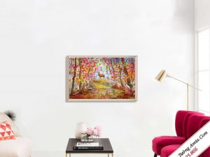 tranh treo tuong canvas huou trong rung mua thu