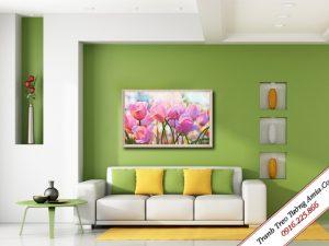 tranh treo tuong hoa tulip in canvas dep