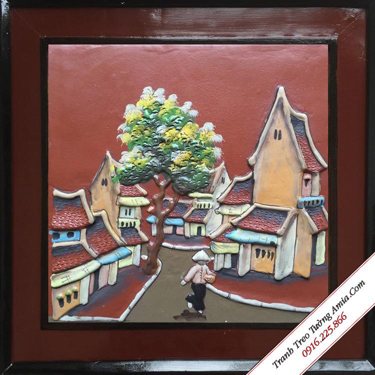 tranh treo tuong phong canh pho co xua lam bang gom
