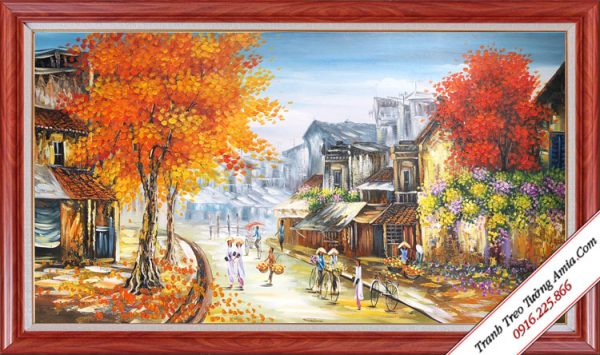 tranh ve son dau phong canh pho co mua thu kho lon