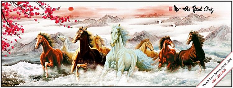 tranh phong thuy 8 con ngua phi nuoc dai