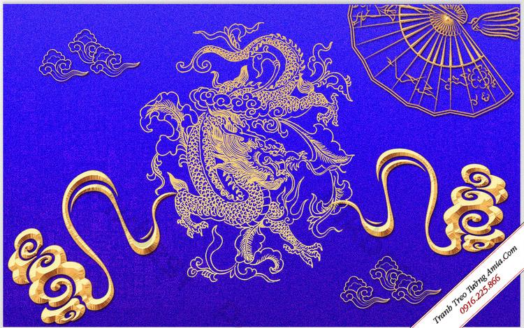 tranh rong vang nen xanh treo tuong hop phong thuy