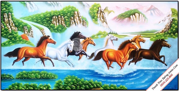 tranh treo tuong phong thuy ngua phi nuoc dai