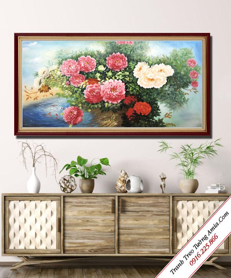 buc tranh dep treo tuong phong khach hoa mau don phong thuy