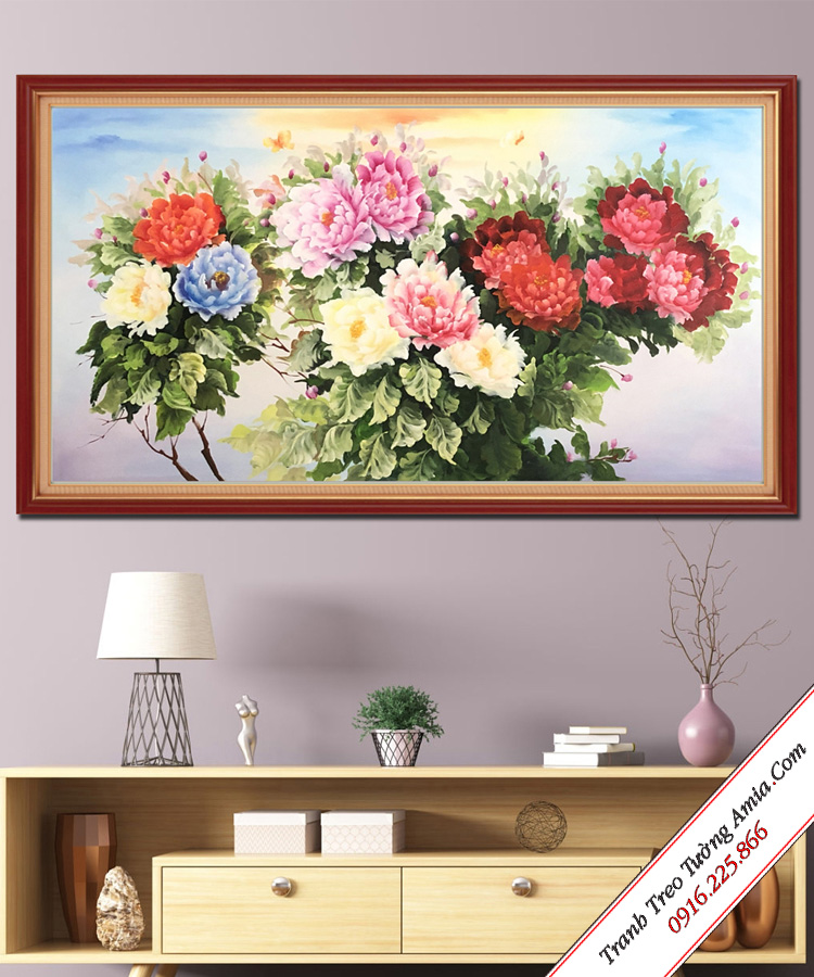 buc tranh mung khai truong hong phat hoa mau don