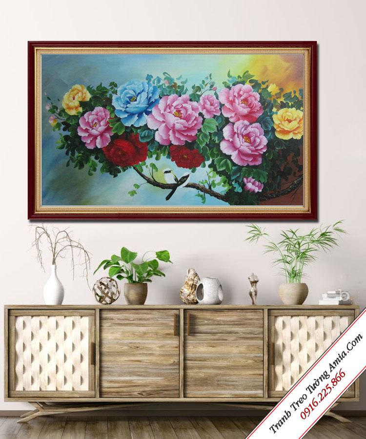 tranh ve hoa mau don treo tuong phong ngu cuc dep
