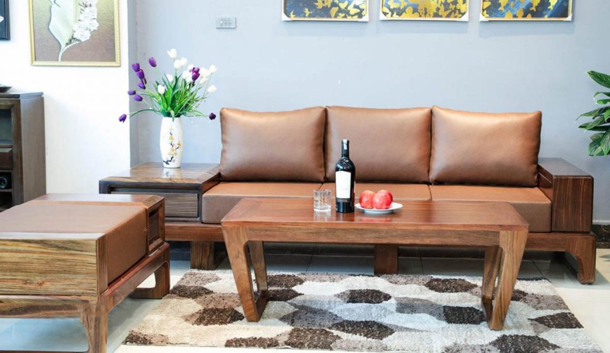 Sofa gỗ văng 3 chỗ ngồi sang trọng