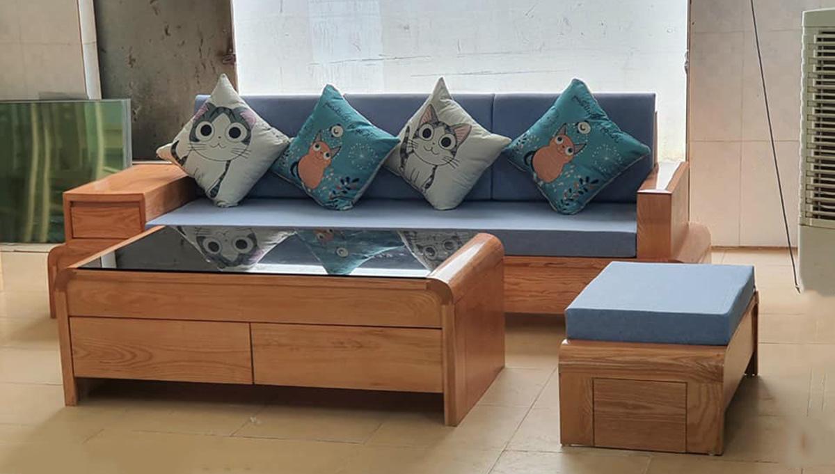 Sofa gỗ văng nệm nỉ xanh trẻ trung
