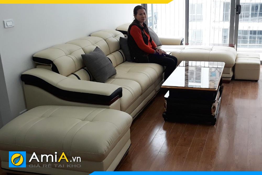 Bộ ghế sofa góc chữ U đẹp kê tại nhà chung cư