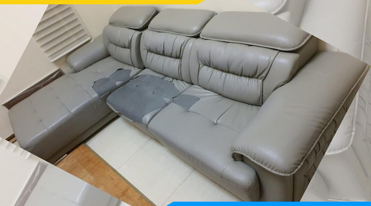 Hình ảnh bộ ghế sofa góc bị hư hỏng do vệ sinh, bảo quản không đúng cách