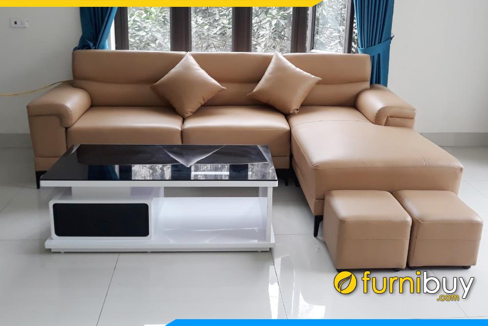 Ghế sofa da dạng góc chữ L màu nâu hiện đại và bàn trà
