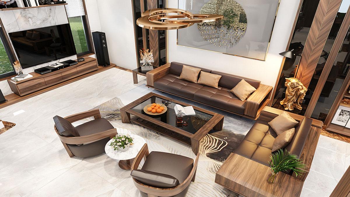 Bàn ghế sofa gỗ bọc da sang trọng phòng khách nhà vườn