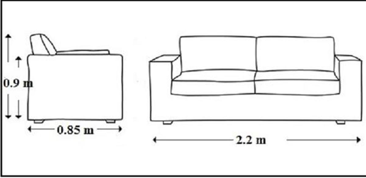 Kích thước sofa gỗ dạng văng tiêu chuẩn